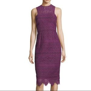 Trina Turk High Neck Lace Sheath Dress Plum 12 NWT
